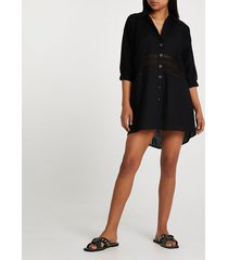 river island womens black oversized shirt beach dress