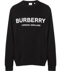 burberry logo print cotton sweatshirt - black