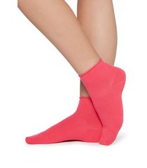 calzedonia extra short flat-knit bandless cotton socks woman pink size tu