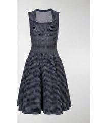 alaïa square neck flared dress