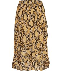 snake midi skirt knälång kjol gul second female