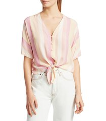 rails women's thea stripe tie-front blouse - sunrise stripe - size l