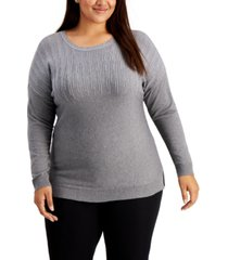 alfani plus size sparkle shoulder sweater, created for macy's