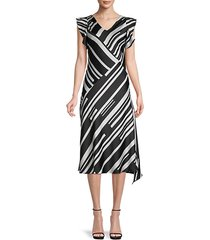 stripe flutter-sleeve dress