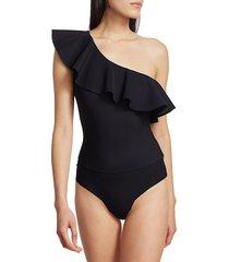 commando women's bonded one-shoulder bodysuit - black - size xl