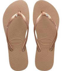 women's havaianas slim crystal flip flop, size 35/36 br - metallic