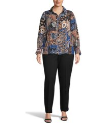 bar iii plus size printed button-front top, created for macy's