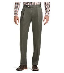 traveler collection traditional fit pleated front twill pants by jos. a. bank