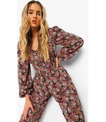 geplooide bloemenprint culotte jumpsuit, black