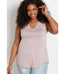 maurices plus size womens 24/7 lilac v neck tank top purple
