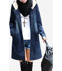 cappotto a manica lunga con cappuccio e patchwork in denim