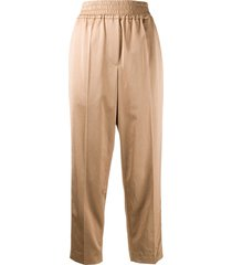 brunello cucinelli cropped ruched waistband trousers - neutrals