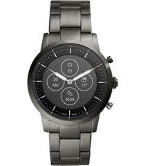 fossil tech collider smoke stainless steel bracelet hybrid smart watch 42mm