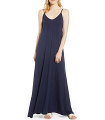 women's loveappella knit maxi dress, size large - blue