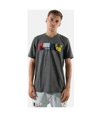 camisa t-shirt gola v rioutlet cinza 235