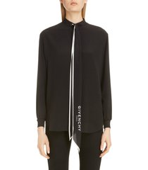 women's givenchy logo scarf neck silk blouse, size 2 us - black