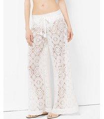 mk pantalone in voile di cotone lavorato a crochet - bianco (bianco) - michael kors