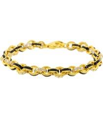 black enamel and diamond link bracelet