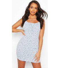 ditsy floral rib rouche bust mini dress, lilac