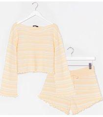 womens jump into bed striped ruffle sweater & short set - lemon