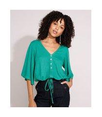 blusa blusê com botões e amarração manga curta ampla decote v verde