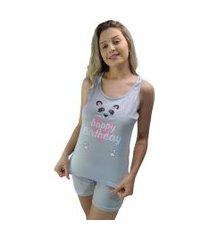 "pijama feminino ""happy birthday"" panda cinza"