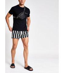 river island mens light green stripe print swim shorts