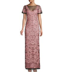 js collections women's soutache embroidered illusion gown - peri navy - size 4