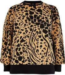 river island womens brown long puff sleeve printed sweatshirt