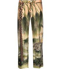 f.r.s for restless sleepers jungle print trousers - green
