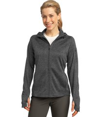 sport-tek l248 tech fleece ladies full-zip hooded jacket - graphite heather