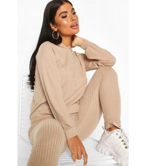 petite knitted soft rib hoody and legging co-ord, sand