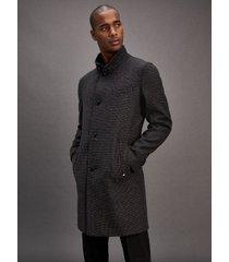 tommy hilfiger men's tommy hilfiger tailored wool check coat dark grey/black - 36