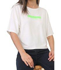 blusa lunender lettering neon off-white/verde