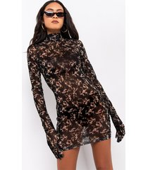 akira i'm a survivor camo glove mesh mini dress