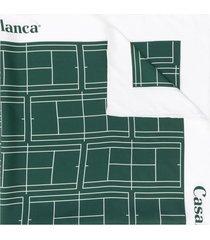 casablanca tennis court silk scarf - green