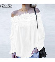 zanzea mujer off hombro encaje floral playa tops verano camisetas blusas -blanco