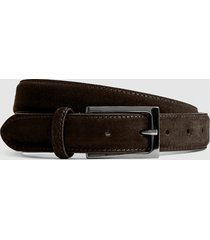reiss joopy - suede belt in dark brown, mens, size 36