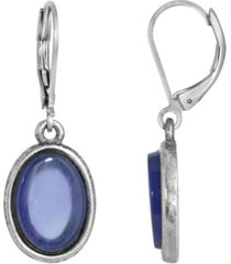 2028 silver-tone semi precious sodalite oval drop earrings