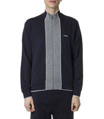 z zegna blue cotton blend sweatshirt with zip