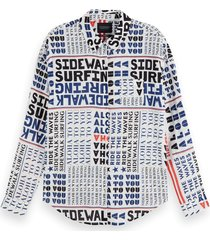 scotch & soda 156020 0590 oversized boxy fit cotton viscose shirt in various prints combo k