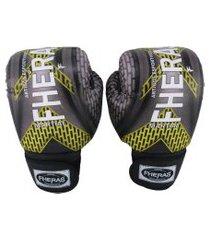 luva boxe muay thai fheras new top pró iron amarelo 14 oz .