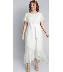 lane bryant women's flounce-sleeve ruffle midi dress 16 ivory