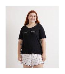 pijama curto em viscose com bordado e estampa curve & plus size | ashua curve e plus size | preto | g