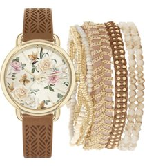 jessica carlyle women's cognac cut-out faux leather strap watch 34mm gift set