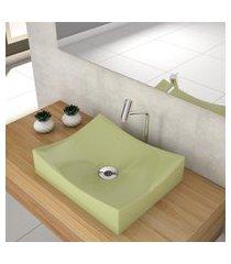 cuba de apoio p/banheiro compace milla m44w retangular verde acqua
