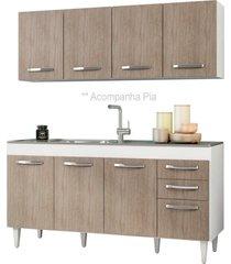 armário aéreo panamá e balcão gabinete pia inox áustria 160cm branco/castanho - lumil móveis