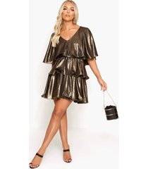 plunge tiered metallic skater dress, gold