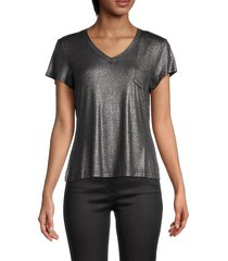 nanette nanette lepore women's v-neck short-sleeve top - black silver - size m
