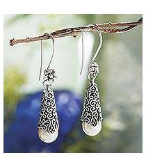 cultured pearl dangle earrings, 'white arabesque dewdrop' (indonesia)